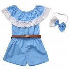 Girl clothing Sets Baby Girl Off Shoulder Lace Overalls Jumpsuit Romper with Bow Headband Belt 3PCS