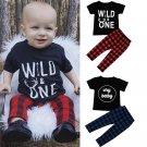 Baby boy clothes 2017 Summer Kids Boy clothes sets Letter t-shirt Tops + Plaid Pants Newborn Outfits