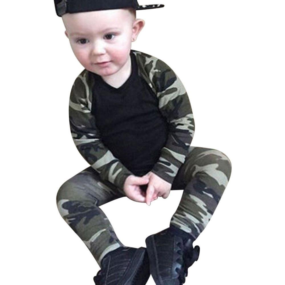 0-24M Autumn Spring Newborn Kids Camouflage set Baby Boys Long Sleeve Clothes T-shirt Tops + Pants O