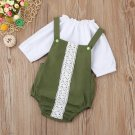 Newborn Baby clothes Girls romper Long Sleeve Solid Tops + Lace Romper Set Suit Infant Outfits drop