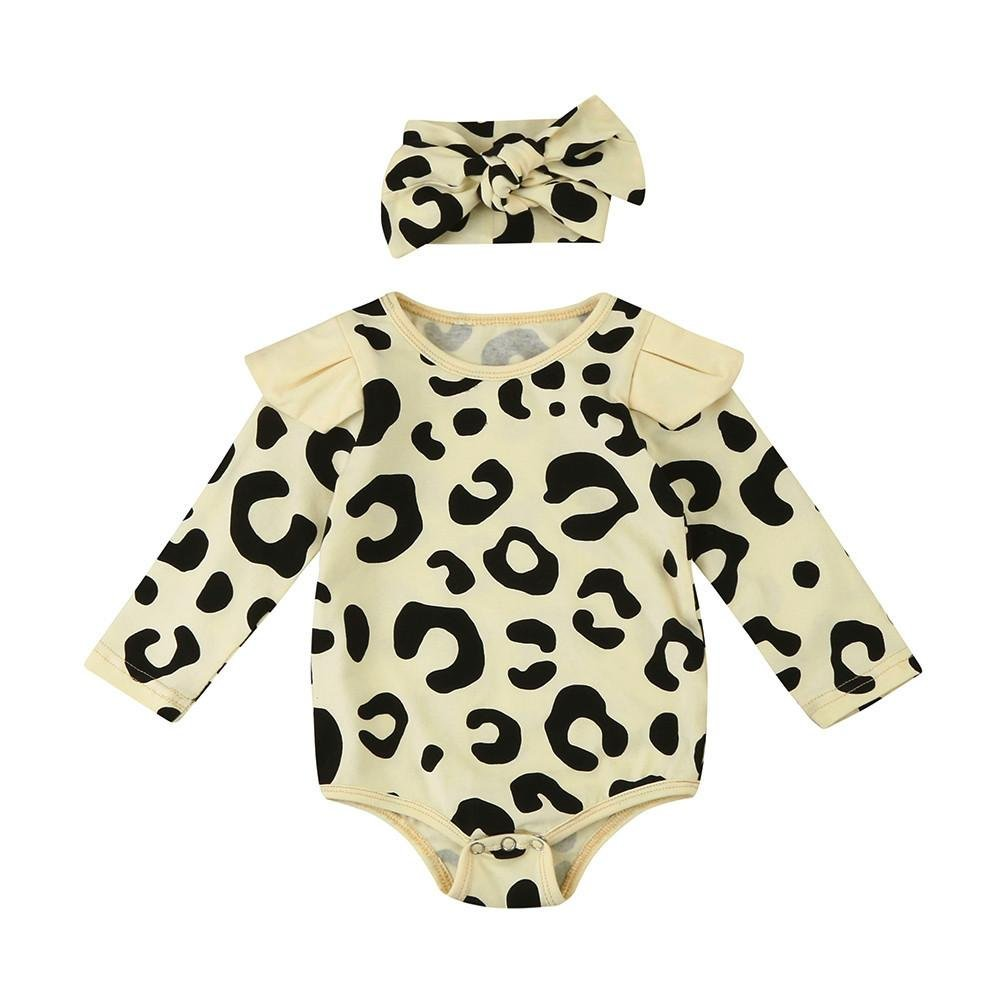 2017 Newborn Toddler Baby Boys Long Sleeve Leopard Print Romper Jumpsuit+Headband baby girl romper C
