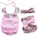 Summer Baby Boys Girls Clothes Sets Newborn Infant Baby Girl Floral Romper Tops+Bow Shorts Pants Cas