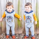 2017 Fashion Spring Autumn Newborn Baby Boys Girls Indian Wolf Hoodie Romper Jumpsuit Outfits Clothe