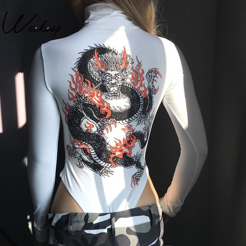 Weekeep Women Dragon Printed Back Turtlenek Sexy Slim Bodysuits 2017 Skinny Long Sleeve Jumpsuits Wh
