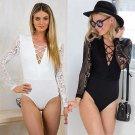 Fashion Women Sexy Body Top Bodys Woman With Lace Neckline Tuta hot black jumpsuit bodysuit