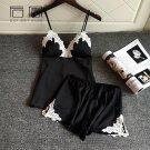 QWEEK Summer Silk Pajamas for Women Pijama Satin Sleepwear Sexy Pajama Sets 2 Piece Set Short Pants