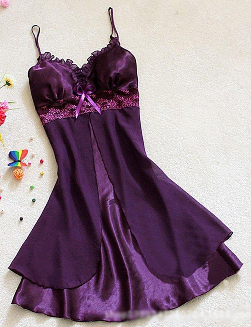 Women Sexy Silk Satin Night Gown Sleeveless Nightdress Lace Sleep Dress V-neck Nighties Night Shirt