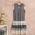 Japanese Mori Girl Dress Women\'s Lace Layer Ruffles Maxi Pleated Sleeveless Loose Cute Female Vesti