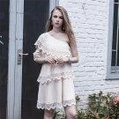 Truevoker Designer Summer Dress Women\'s Sexy One-Shoulder Pure Ruffle Embroidery Patchwork Draped L