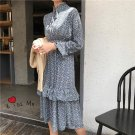 New Spring Women dress Stand Neck Print Small Collect Waist C102 Cake Layer Dresses Light Blue 9162