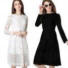 Women Fashion Casual Elegant Lace Splice Multi Layer High Wiast Dress Hollow Out Long Sleeve Slim Pa