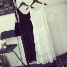 New Summer Casual Sweet Dress Women\'s Black White Sleeveless Lace Layer Art Elegant Female Vestido