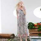 Ladies Luxury O-Neck Half Sleeves Embroidery Layered Floral Voilce Pleated Maxi Summer Dress Women R