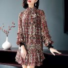 Women spring summer Double layer print ruffles long sleeve short mini chiffon dress Q801017