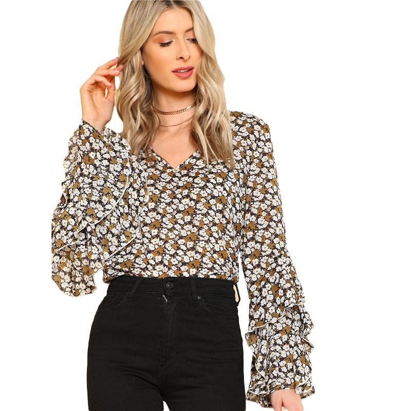 Layered Ruffle Floral Print Top V Neck Flare Sleeve Women Casual Blouse 2018 Spring New Long Sleeve