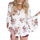 2017 Summer Fashion Batwing Sleeve Blouse Women Long Sleeve Deep V Neck Floral Printed Casual Blusa