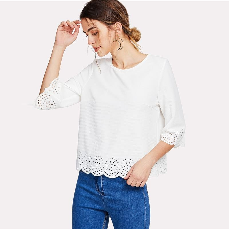 White Scallop Laser Cut Blouse Solid Round Neck Top 2018 Spring Women Office Ladies Work Elegant Blo