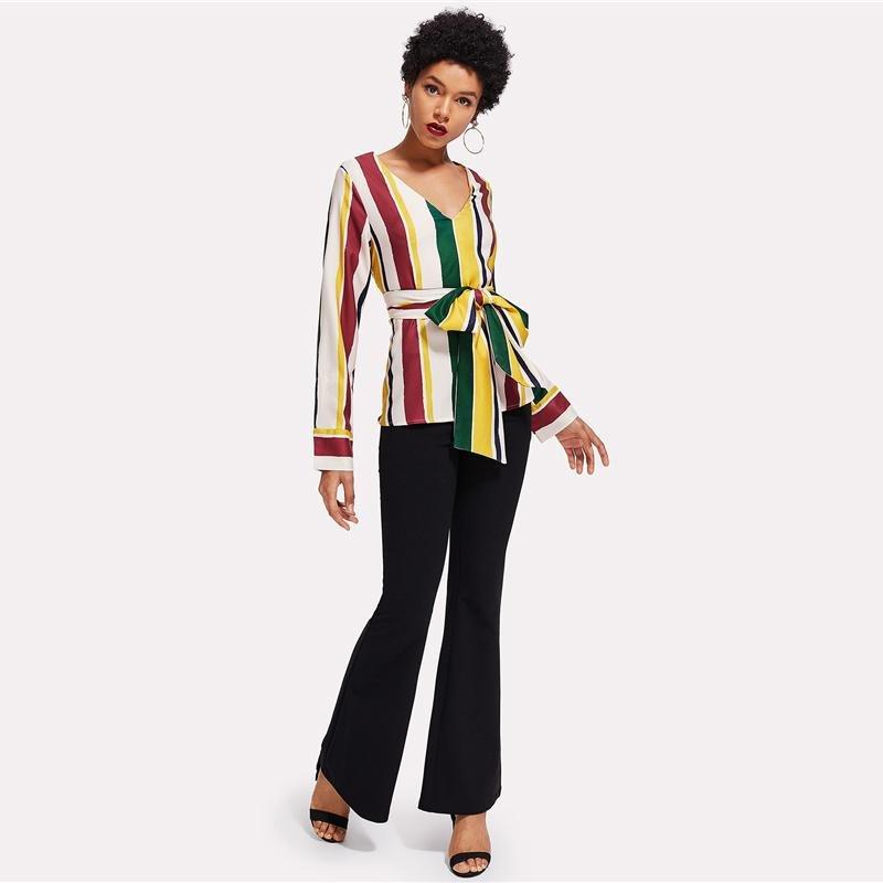Colorblock V-Neck Blouse Striped Belted Slim Fit Top 2018 Spring Women OL Work Elegant Long Sleeve B