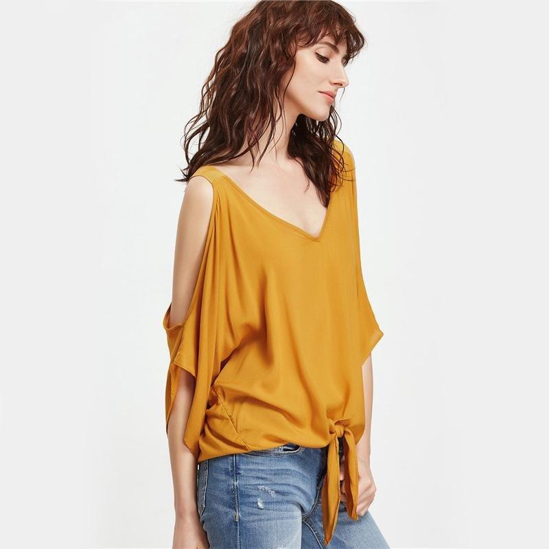 Women Blouses Mustard Cold Shoulder Elegant V Neck Summer Tops Knot Front Casual Clothing 2017 Fashi