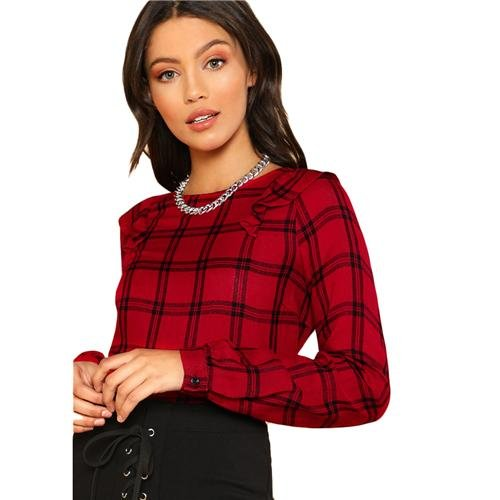 Boat Neck Long Sleeve Blouse Women Red Ruffle Shoulder Plaid Top With Button Girl School Gingham Blo