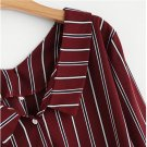Burgundy Vertical Striped Knotted Shirt Women Button Casual Top 2018 Spring Office Work Long Sleeve