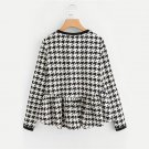 Frilled High Low Houndstooth Blouses 2017 Round Neck Long Sleeve Ruffle Tiered Cute Blouse Women Cas