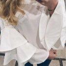 White Round Neck Ruffle Long Sleeve Shirt Ladies Work Wear Fashion Tops Women Vogue Blouse