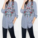 New Casual Cotton Women\'s Floral Embroidered Blouse Autumn Casual Long Sleeve Striped Shirt Tops Si