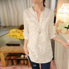 New Summer  Women Blouse Flower Print Blouse V-neck Organza Embroidered Shirt White Lace Blouse 566F