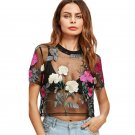 Flower Embroidered Mesh Blouse Summer Womens Tops and Blouses Black Round Neck Short Sleeve Sexy Cro