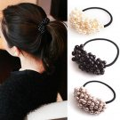 3PCS Fashion Artificial Pearls Beads Rubber Hairbands Girls Hair Accessories Scrunchie Ponytail Hold