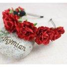 Women Girl Rose Flower Crown Children Hair Band Artificial Flower Head Wreath For Hair Wedding Garla