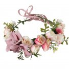 Women Girl Rose Flower Crown Wreath Wedding Bridal Artificial Lily Flower Headband Tiara Hair Floral