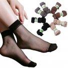 summer sexy ultrathin transparent crystal silk socks for women high elastic black nylon short socks