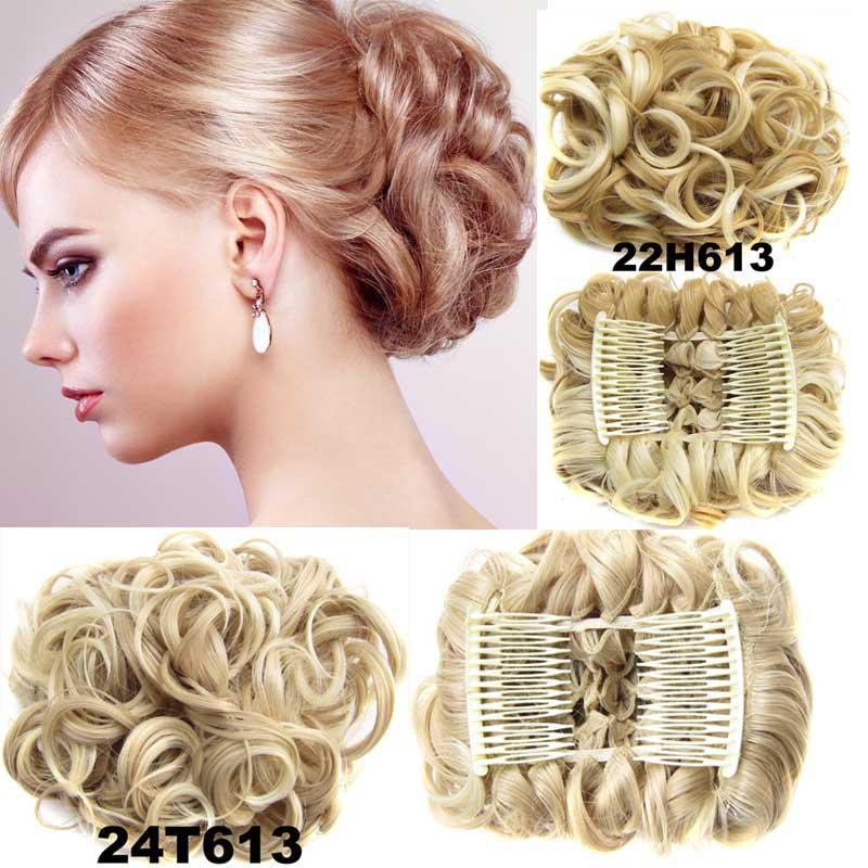 12 Colors Women Curly Chignon Plastic Comb Hair Extension Hairpiece wig Clip In Big Hair Bun Claws p