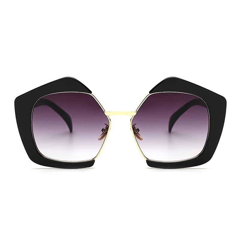 ROYAL GIRL Fashion Luxury Brand Oversized Pentagon Sunglasses Female Vintage Personality Half Frame