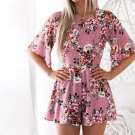 Sweet Floral Print Women Playsuits Sexy Jumpsuit Shorts 2018 Half Sleeve Party Beach Summer Playsuit
