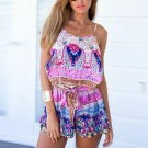 Summer Jumpsuits For Women 2018 Boho Beach Strap Sleeveless Print Loose Elastic Rompers Bohemian Par