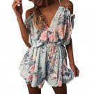 Boho Floral Print Ruffles Playsuits Shorts Rompers Womens Jumpsuit Summer Sexy V Neck Backless Casua
