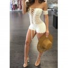 MOONIGHT Women Summer White Hollow Out Sexy Rompers Jumpsuit Deep V Neck Sexy Party Playsuits