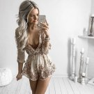 Rose Gold Sequin Playsuit Plunge V-neck Long Sleeves Sexy Women Tassel Elegant Club Party Waist Jump