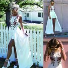 JOYINPARTY  Embroidery Sexy Women Strap Off Shoulder Party Evening White Rompers Jumpsuit Backless A