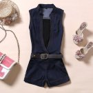 2018 Bodycon Jumpsuit Enteritos Mujer Cowboy Conjoined With Belt Denim V-neck Sleeveless Jumpsuit Fi