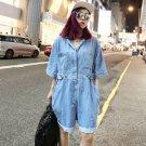 Summer Paragraph Street Denim Jumpsuit Female Wide Leg Shorts Women Cover Button Waist Light Blue Je