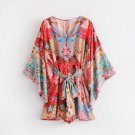 2018 Women Floral Print Sashes Playsuit Summer Beach Elegant Loose Deep V Buttons Jumpsuit Rompers