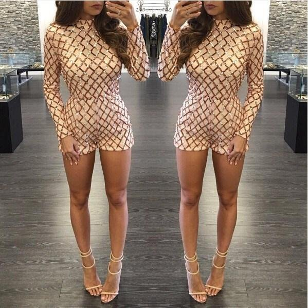 New Sequined Jumpsuits For Women 2018 Turtleneck Long Sleeve Sparkly Ladies Party Club Playsuits