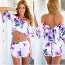 New Nice Summer 2 Piece Set Women Crop Pop And Short Set Sexy Backless Off The Shoulder Piece Suit P