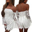 Sexy Off Shoulder Summer Lace Jumpsuits Romper Women White Short playsuit Elegant Lace Trim Flare Lo