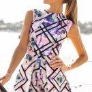 2017 Women Bodycon Casual Bodysuit Floral Print Sleeveless Chiffon drawstring Waist Jumpsuit