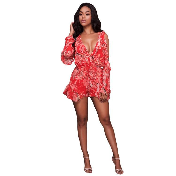 Sexy Playsuits Women Deep V-Neck Uncovered Shoulder Ruffles Elastic High Waist Playsuits Free-shippi